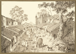 View of a stone mosque in the Western suburbs of Patna City (Bihar) looking west. 29 October 1824